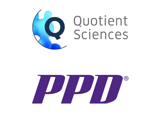 Quotient Sciences and PPD logo on top of one another