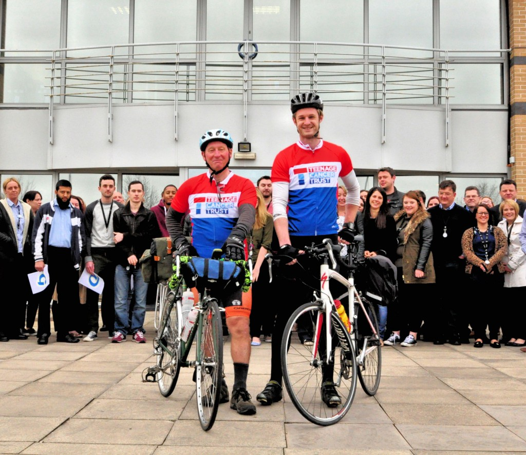 (Left to right) Pete Knight and David Ross preparing to set off on their challenge, in front of supportive colleagues.